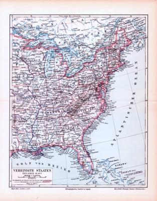 Farbige Lithographie einer Landkarte des östlichen Teils der Vereinigten Staaten von Amerikaaus dem Jahr 1893. Maßstab 1 zu 12.000.000.