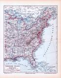 Farbige Lithographie einer Landkarte des östlichen Teils...