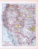 Farbige Lithographie einer Landkarte des westlichen Teils...
