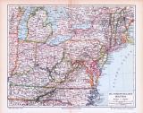 Farbige Lithographie einer Landkarte des nordöstlichen Teils der Vereinigten Staaten von Amerika aus dem Jahr 1893. Maßstab 1 zu 6.000.000.