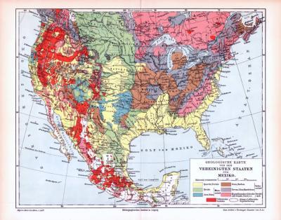 Farbige Lithographie einer geologischen Landkarte der Vereinigten Staaten von Amerika und Mexiko aus dem Jahr 1893. Maßstab 1 zu 20.000.000.