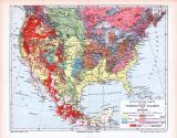 Farbige Lithographie einer geologischen Landkarte der...