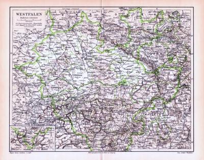 Farbige Lithographie einer Landkarte Westfalens aus dem Jahr 1893. Maßstab 1 zu 850.000.
