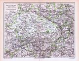Farbige Lithographie einer Landkarte Westfalens aus dem...