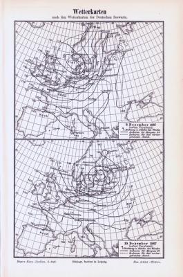 Stich aus 1893 zeigt 2 Wetterkarten aus 1887, erstellt von der Deutschen Seewarte.