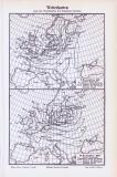 Stich aus 1893 zeigt 2 Wetterkarten aus 1887, erstellt...