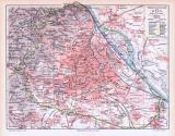 Farbige Lithographie eines Stadtplans von Wien aus dem Jahr 1893. Maßstab 1 zu 75.000.