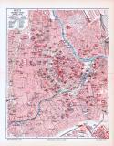 Farbige Lithographie eines Stadtplans der inneren Stadt...