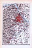 Farbige Lithographie einer Landkarte der Umgebung von Wien aus dem Jahr 1893. Maßstab 1 zu 225.000.