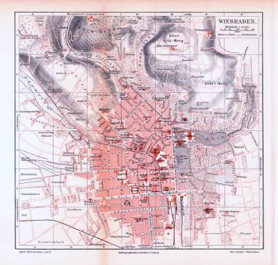 Farbige Lithographie eines Stadtplans von Wiesbaden aus dem Jahr 1893. Maßstab 1 zu 15.000.