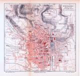 Farbige Lithographie eines Stadtplans von Wiesbaden aus...