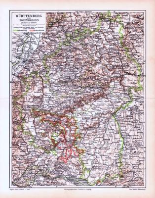 Farbige Lithographie einer Landkarte von Württemberg und Hohenzollern aus dem Jahr 1893. Maßstab 1 zu 850.000.