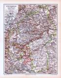 Farbige Lithographie einer Landkarte von Württemberg und...
