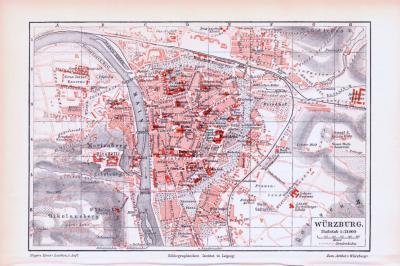 Farbige Lithographie eines Stadtplans von Würzburg aus dem Jahr 1893. Maßstab 1 zu 21.000.