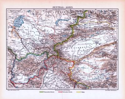 Farbige Lithographie einer Landkarte von Zentralasien aus dem Jahr 1893. Maßstab 1 zu 12.000.000.