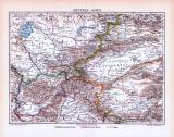 Farbige Lithographie einer Landkarte von Zentralasien aus...