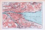 Farbige Lithographie eines Stadtplans von Zürich aus dem Jahr 1893. Maßstab 1 zu 17.000.
