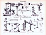 Stich aus 1893 zeigt technische Darstellungen von Polarisationsapparaten.