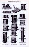 Stich aus 1893 zeigt technische Darstellungen von Photographischen Apparaten.