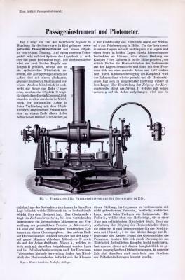 Technische Abhandlung mit Stichen aus 1893 zu Passageninstrument und Photometer.