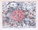 Farbig lithographierte Landkarten aus 1893 zeigen die Umgebung von Paris und Befestigungswerke.