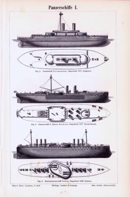 Stiche aus 1893 zeigen Panzerschiffe verschiedener Bauarten.