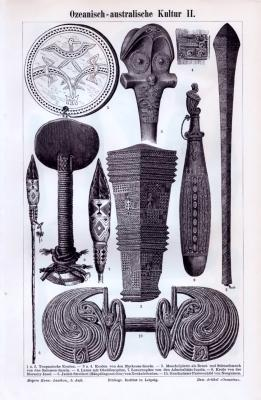 Stich aus 1893 zeigt Objekte der Ozeanisch australischen Kultur.