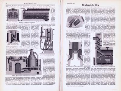 Technische Abhandlung mit Stichen aus 1893 zu Metallurigischen Öfen.