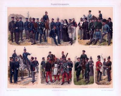 Chromolithographie aus 1893 zeigt Sanitätskorps verschiedener europäischer Staaten in ihren Uniformen.
