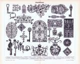 Stich aus 1893 zeigt verschiedene Objekte der Schmiedekunst.