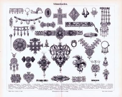 Stich aus 1893 zeigt verschiedene kunstvoll gefertigte Schmucksachen.