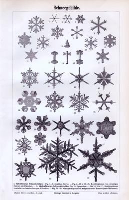 Stich aus 1893 zeigt verschiedene Formen von Schneekristallen.