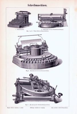 Stich aus 1893 zeigt verschiedene Schreibmaschinentypen.