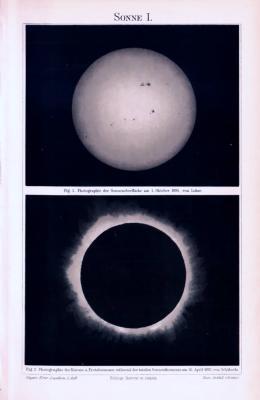 Lithographie zeigt Photographien der Sonnenoberfläche von 1895 und der totalen Sonnenfinsterniss von 1893.