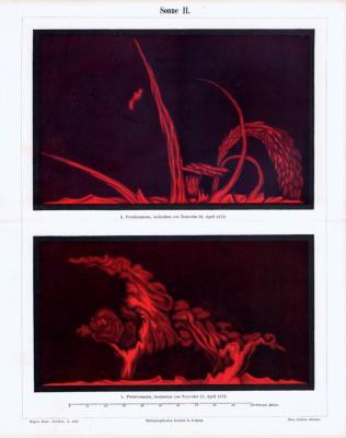 Farbigge Lithographie aus 1893 zeigt Sonnenprotuberanzen von 1872, beobachtet von Trouvelot.