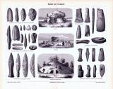 """""""Stich aus 1893 zeigt Objekte und Bauwerke aus der Kultur der Steinzeit."""