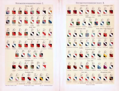 Chromolithographie aus 1893 zeigt verschiedene Wappen deutscher Studentenverbindungen.