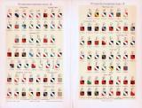 Chromolithographie aus 1893 zeigt verschiedene Wappen deutscher und ausländischer Studentenverbindungen.