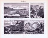 Stich aus 1893 zeigt verschiedene Täler aus geologischer Perspektive.