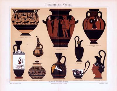 Chromolithographie aus 1893 zeigt verschiedene Vasen aus der Zeit der Antike.