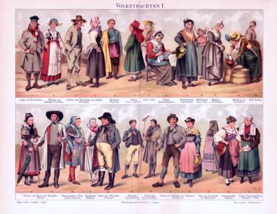 Chromolithographie aus 1893 zeigt verschiedene Volkstrachten.