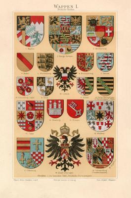 Chromolithographie aus 1893 zeigt verschiedene Wappen.