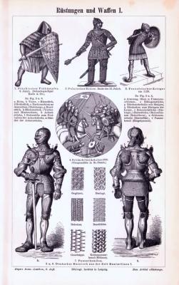 Stich aus 1893 zeigt verschiedene Arten von Rüstungen und Waffen aus der Zeit des Mittelalters.