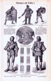 Stich aus 1893 zeigt verschiedene Arten von Rüstungen und...