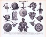Rüstungen und Waffen I. + II. ca. 1893 Original der Zeit