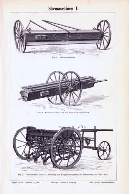Stich aus 1893 zeigt verschiedene landwirtschaftliche Säemaschinen unterschiedlicher Bauart.