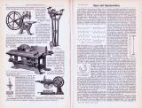 Technische Abhandlung mit Stichen aus 1893 zum Thema Sägen und Sägemaschinen.