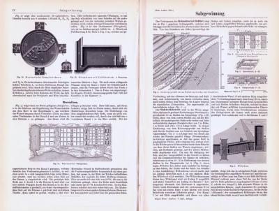 Technische Abhandlung mit Stichen aus 1893 zum Thema Salzgewinnung.