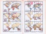 Farbig lithographierte Weltkarten zur Verbreitung der...