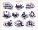 Stich aus 1893 zeigt verschiedene Arten von Schiffen vond...